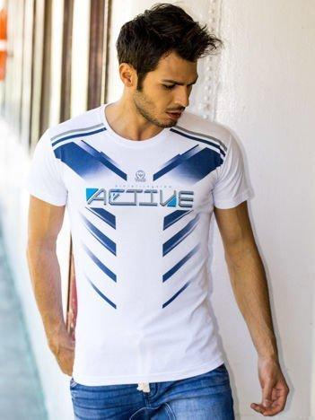Biały t-shirt męski Active