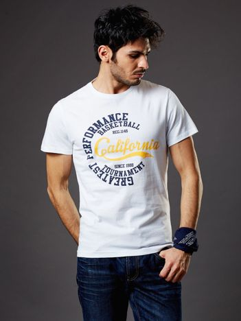 Biały t-shirt męski California