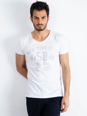 Biały t-shirt męski Queens