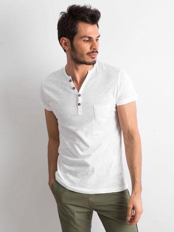 Biały t-shirt męski z bawełny