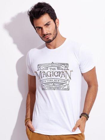 Biały t-shirt męski z nadrukiem vintage