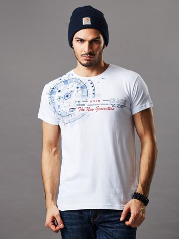 Biały t-shirt męski z okrągłym printem
