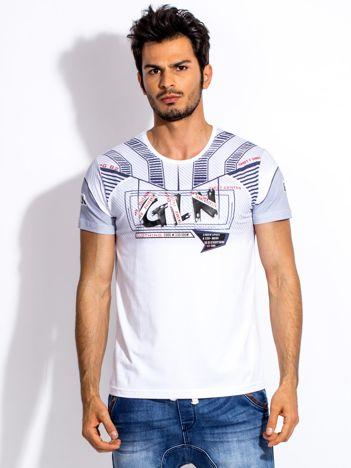 Biały t-shirt męski z wypukłym nadrukiem