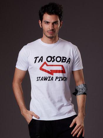 Biały t-shirt męski z zabawnym napisem