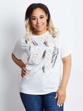 Biały t-shirt plus size Unravelling