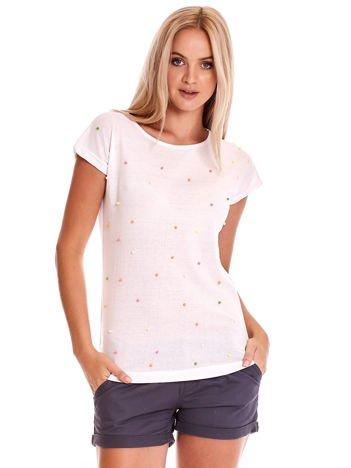 Biały t-shirt z kolorową aplikacją