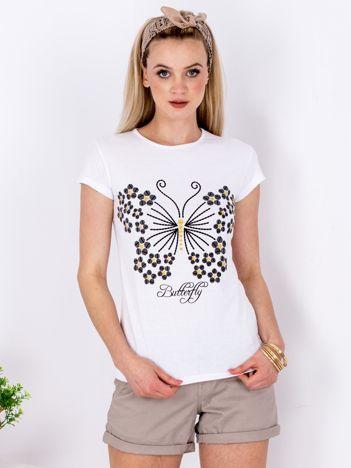 Biały t-shirt z motylem
