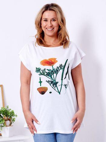 Biały t-shirt z motywem maku PLUS SIZE