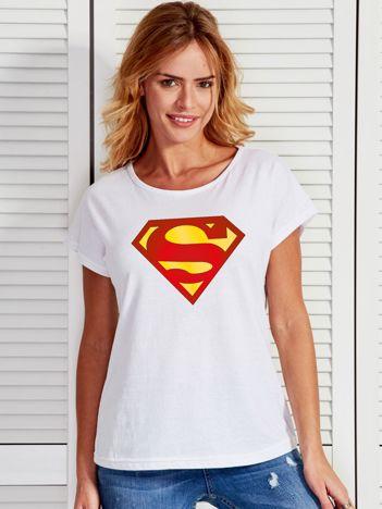 Biały t-shirt z nadrukiem SUPERMAN
