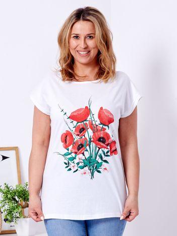 Biały t-shirt z nadrukiem maków PLUS SIZE