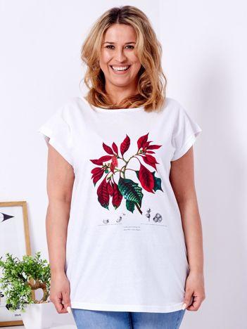 Biały t-shirt z poinsecją PLUS SIZE
