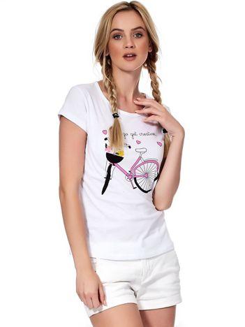Biały t-shirt z rowerem