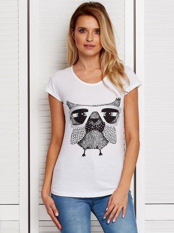 Biały t-shirt z sową