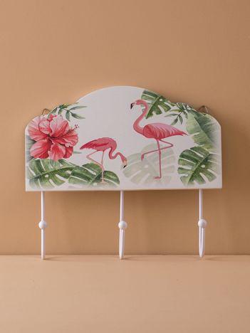 Biały wieszak z flamingami
