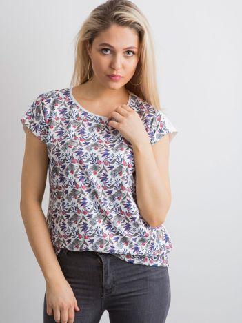Biały wzorzysty damski t-shirt