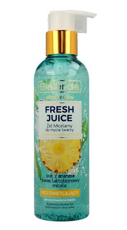 Bielenda Fresh Juice Żel micelarny rozświetlający z wodą cytrusową Ananas 190 g