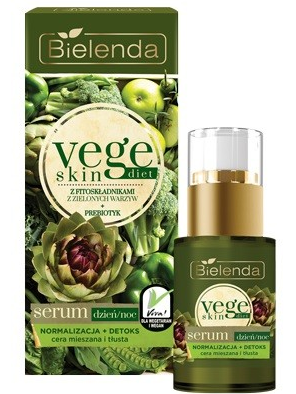 Bielenda Vege Skin Diet Serum Normalizacja + Detoks cera mieszana i tłusta na dzień i noc 15 ml