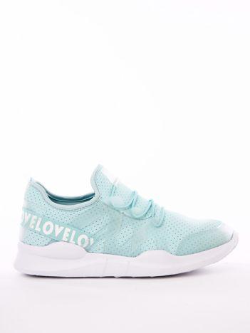 Błękitne buty sportowe z transparentnymi szlufkami