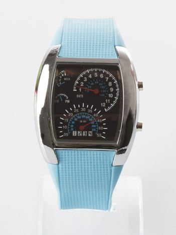 Błękitny zegarek męski sportowy z datownikiem