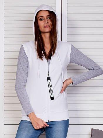 Bluza damska bez rękawów z ozdobnym suwakiem biała