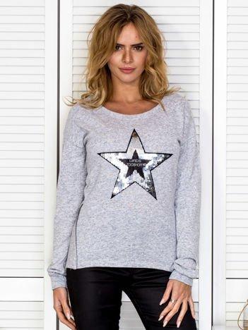 Bluza damska z cekinową gwiazdą jasnoszara