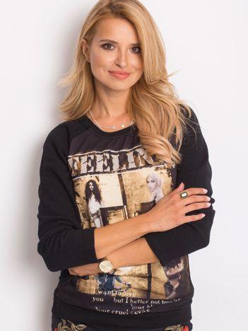 Bluza damska z fotoprintem czarna