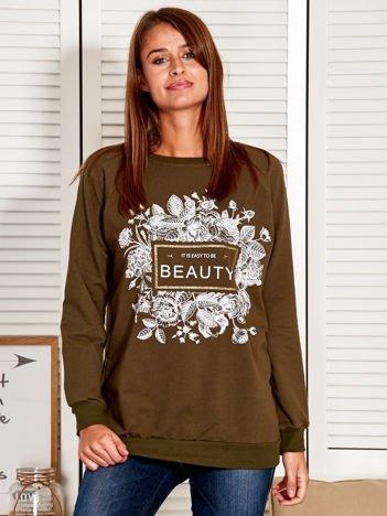 Bluza damska z motywem kwiatów i napisem khaki