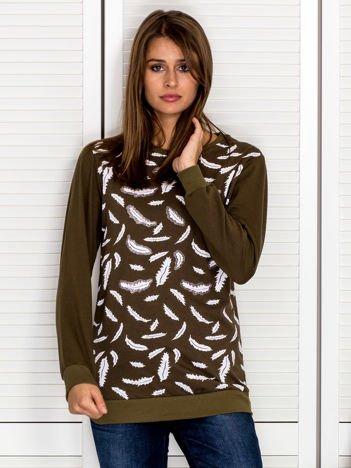Bluza damska z nadrukiem liści khaki