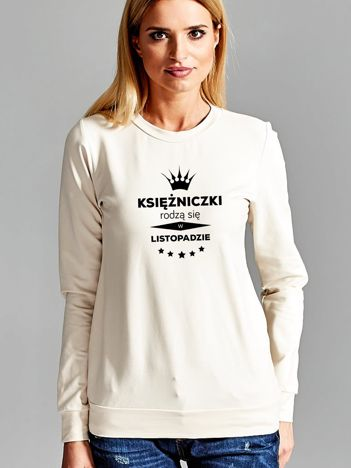 Bluza damska z nadrukiem tekstowym KSIĘŻNICZKA ecru