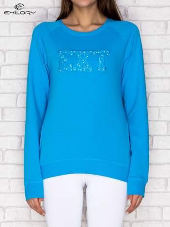 Bluza damska z napisem EXT turkusowa