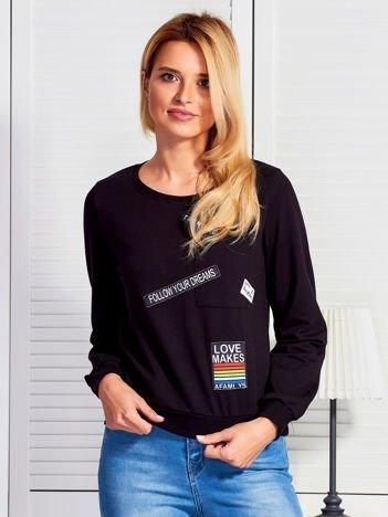 Bluza damska z naszywkami czarna