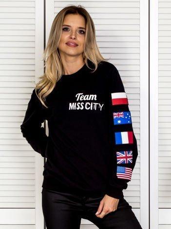 Bluza damska z naszywkami flag czarna
