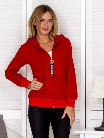 Bluza damska z ozdobnym suwakiem czerwona