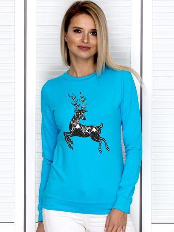 Bluza damska z rysunkowym reniferem turkusowa