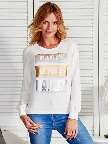 Bluza damska ze złotym i srebrnym nadrukiem ecru