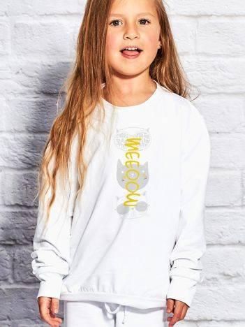Bluza dla dziewczynki z kocim nadrukiem biała