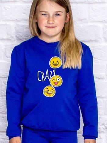 Bluza dla dziewczynki z motywem emoji ciemnoniebieska