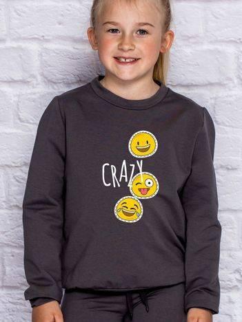 Bluza dla dziewczynki z motywem emoji ciemnoszara