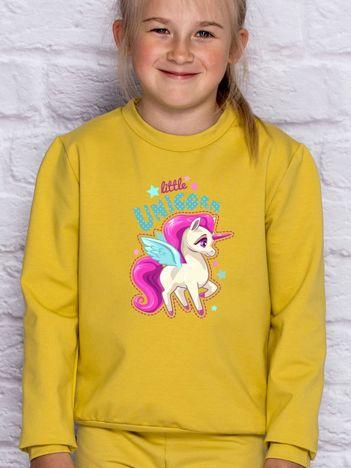 Bluza dla dziewczynki z motywem jednorożca miodowa