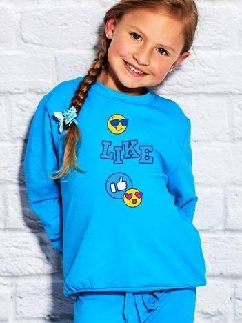 Bluza dla dziewczynki z nadrukiem emoji turkusowa