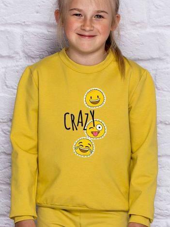 Bluza dla dziewczynki z napisem CRAZY miodowa