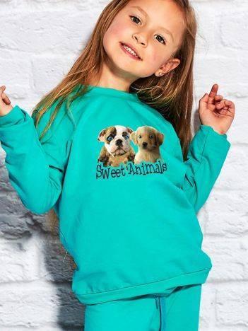 Bluza dla dziewczynki z pieskami zielona