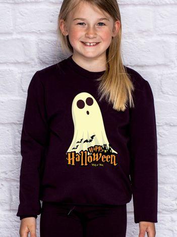 Bluza dziecięca Halloween z nadrukiem duszka ciemnofioletowa