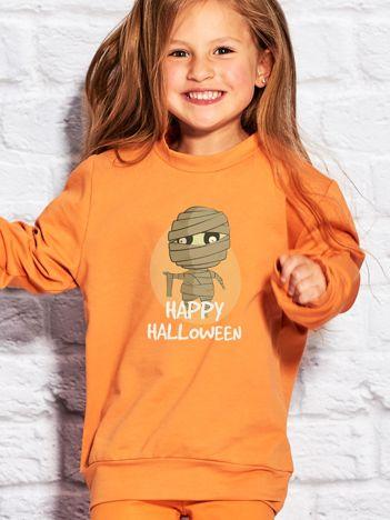 Bluza dziecięca Halloween z nadrukiem mumii pomarańczowa