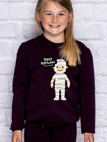 Bluza dziecięca z halloweenowym nadrukiem ciemnofioletowa