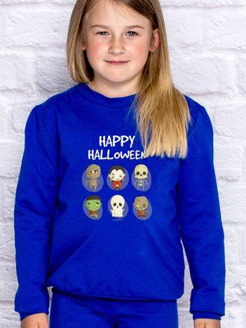 Bluza dziecięca z nadrukami postaci Halloween kobaltowa