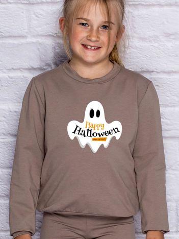 Bluza dziecięca z nadrukiem HAPPY HALLOWEEN kawowa