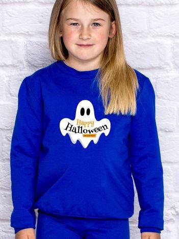 Bluza dziecięca z nadrukiem HAPPY HALLOWEEN kobaltowa