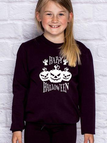 Bluza dziecięca z nadrukiem dyni Halloween ciemnofioletowa