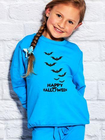 Bluza dziecięca z nietoperzowym nadrukiem turkusowa